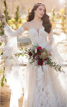 Bohemian Lace Fit-and-Flare Wedding Dress with Detachable Bell Sleeves - Martina. Bohemian Lace Fit-and-Flare Wedding Dress with Detachable Bell Sleeves - Martina Liana wedding dress lace fitt. Ethereal Wedding Dress, How To Dress For A Wedding, Classic Wedding Dress, Bohemian Wedding Dresses, Gorgeous Wedding Dress, Boho Bride, Bohemian Weddings, Lace Weddings, Gown Wedding