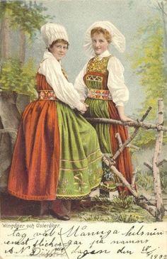 . Folk Costume, Costumes, Swedish American, Medieval Dress, Vintage Pictures, Traditional Dresses, Vintage Postcards, Folklore, Photo Cards