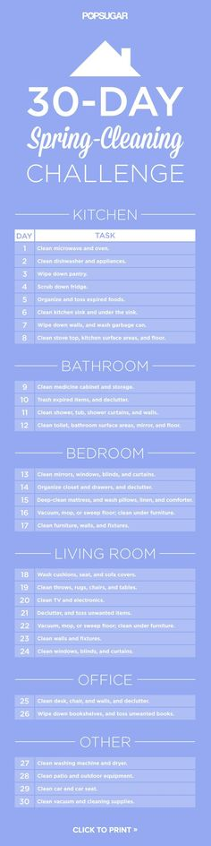 30 day spring cleaning challenge. I wonder if this would work the month before we move... And then just speed clean week of.