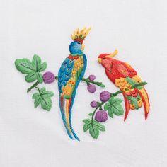 Exotic BirdsHand Towel - White Cotton – Henry Handwork
