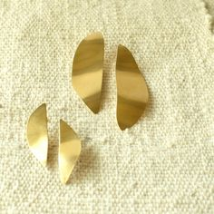 Petal Earrings Sterling or Gold finish Large Small Statement Taxco Modernist Sterling Silver Earrings, Silver Jewelry, Matte Gold, Jewerly, It Is Finished, Bronze, Etsy, Kiwi, Contemporary