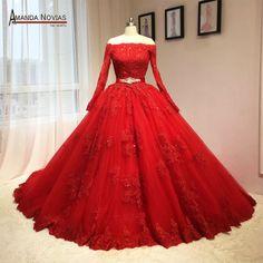 2016 Date Rouge Robe De Mariage Puffy robe de Bal Manches Longues Modèles