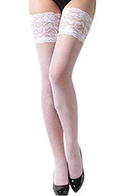 1e5a41ef3b9 Rokou Women s Sexy Lace Garter Belts Thigh High Lingerie Set with Stockings  (Black Stockings)