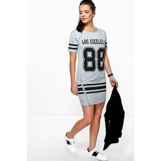 Boohoo Felicity Sports Printed T-Shirt Dress ($26) ❤ liked on Polyvore featuring dresses, grey, cotton dress, gray t shirt dress, grey cocktail dress, gray dress and holiday dresses