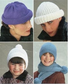 1170f90d944 womens hat knitting pattern pdf ladies cap childrens hats DK   8 ply or  chunky   bulky womens knitting patterns pdf instant download