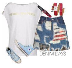 """Jean Dreams: Denim Skirts"" by ella178 ❤ liked on Polyvore featuring Pierre Balmain, Junya Watanabe, Converse, Rebecca Minkoff, TONYMOLY and denimskirts"