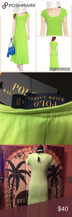 """NEW Polo Ralph Lauren Scoopneck Cotton Maxi Dress Size Small, thin lightweight material Long casual maxi dress, NWT Short sleeves Rib crewneck Interior taping at neck for comfort Distressed details to give an appearance of a fine worn classic Embroidered Pony logo on right sleeve, length is 54"""" Polo by Ralph Lauren Dresses Maxi"""