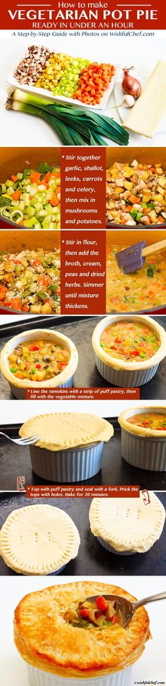 Vegetarian Pot Pie Recipe - Ready in Under an Hour // wishfulchef.com #Healthy #Vegetarian