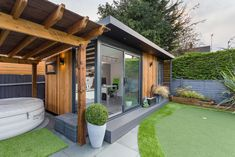 34 Stunning Backyard Studio Office Design Ideas You Must Have - Most people want a shed in the backyard for one reason and one reason only; While that's a great use for a building that is separate from you. Garden Home Office, Summer House Garden, Hot Tub Garden, Backyard Office, Backyard Studio, Backyard Sheds, Shed Office, Garden Studio, Gardens