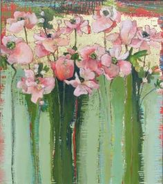 Image result for flower paintings with gold leaf