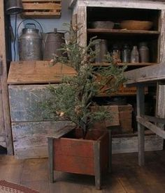 Primitive wood Christmas tree dry goods bin at Sweet Liberty Homestead!!!