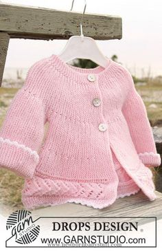 """Child Knitting Patterns DROPS jacket knitted backward and forward in garter st and lace sample in """"Child Merino"""". Free sample by DROPS Design. Baby Knitting Patterns"""