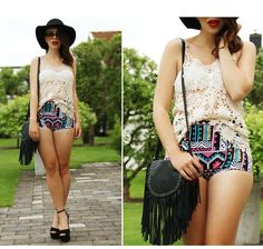 This is E. Malmberg's buyer show in OurMall;  1.Beige Spaghetti Strap Sheer Crochet Lace Vest #TOP #HAT #HEEL please click the picture for detail. http://ourmall.com/?bm2Uzm