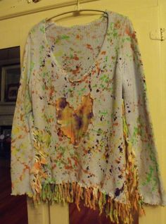 Artsy/Splatter Painted/Heart Appliqued/Fringed/Upstyled/Restyled/Cotton Sweater