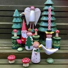 Getting ready for our next Holiday.so excited about making some new goodies! Christmas Fairy, Christmas Wood, Primitive Christmas, Homemade Christmas, Wood Peg Dolls, Clothespin Dolls, Christmas Crafts, Christmas Decorations, Christmas Ornaments