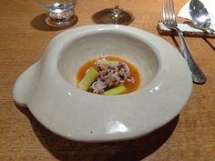 Baby cuttlefish with roasted vegetables emulsion, leeks and dill flower @ Restaurant Ricard Camarena