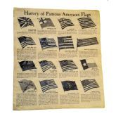 16 inch by 14 inch History of Famous American Flags Poster / Manufactured Historical Document which looks and feels old with a unique 11-step antiquing process. Made in U.S.A