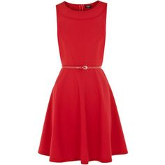 Mid Red Fit and Flare Rome Dress