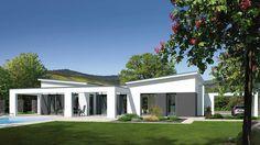 Fingerhut Bungalow Einfamilienhaus Flachdach weiß verputzt Teilflächen farblich abgesetzt