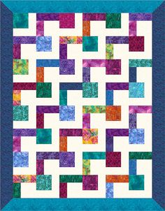 L-block quilt design - needs 48 blocks: half with light square and dark rectangles.  9 inch blocks and 5 inch borders = 64 x 82 final size