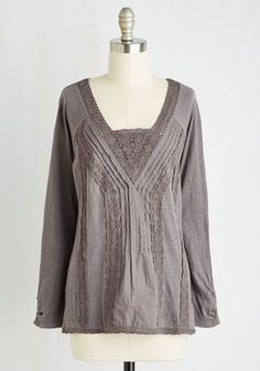 Planning Phase Top. Before building a new clients garden, spend the day at your desk in this slate grey top. #brown #modcloth