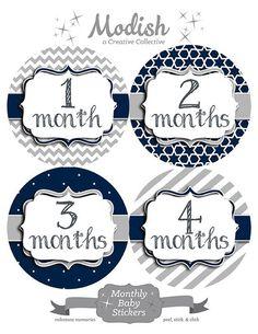 FREE GIFT, Monthly Onesie Stickers Boy, Navy, Gray, Monthly Baby Stickers, Baby Belly Stickers, Baby Stickers, Chevron, Navy Gray