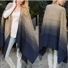 """1 HR SALEThe WESTER ombré poncho - NAVY A Classic Ombre Style Poncho. Subtle color change is a great look. Soft and warm. Dimensions 62"""" x 51"""". Fabric 100% Acrylic Jackets & Coats"""