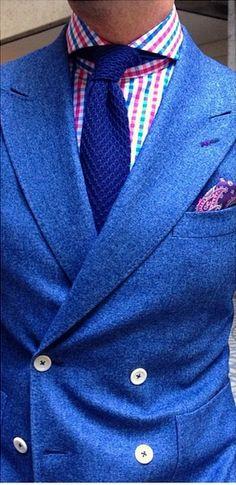 Awesome blue flannel B&R x Ariston DB. Mens Fashion Suits, Mens Suits, Blue Fashion, Men's Fashion, Style Anglais, Custom Suits, Blue Suits, Preppy Men, Elegant Man
