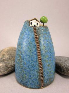 "Blue Hill Bud Vase / Pen Holder in Stoneware by elukka on Etsy, 4.5"" tall"
