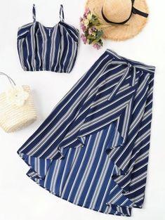 Striped High Low Two Piece Maxi Dress