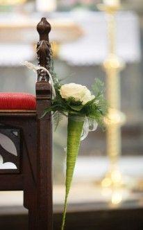 Kirchendekoration mit gelben Rosen / Church Wedding Decorations