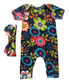 Rocket Bug Blue Floral Playsuit & Headband - Infant | zulily