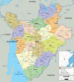 Подробная крупная политическая карта Бурунди с указанием городов, городов, штатов, провинций и границ соседних стран.
