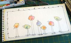 Fingerprint Birds - Taught this to 1st graders.  We used watercolor pain to make the spots on the first day (each student made at least three paper strips of splotches).  The second day we outlined them in sharpie and added the details to make the splotches into birds, mice, and pigs.  If the students made more than three strips, they could choose an animal for the last strip.