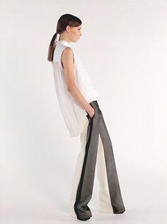 Celine - Watteau-back sleeveless shirt & Silk-blend trousers