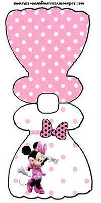 Imprimibles gratis de Minnie Mouse en fondo rosa con lunares blancos o negros.