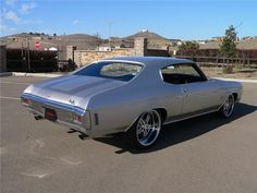 """1970 CHEVROLET CHEVELLE MALIBU CUSTOM 2 DOOR COUPE  custom Billet Specialties wheels that are 19"""" on the front and 20"""" on the rear silver grey 5 star spoke wheels twin turbo"""