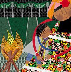 ALEJANDRA OVIEDO - Chile    Libro: Ilustración del libro la noche que nos regalaron el fuego.      También ilustró el libro: AnimaLetras - de la editorial Amamuta Collage Illustration, Mother And Child, Pictures To Draw, Chile, Watercolor, Drawings, Prints, Pattern, Painting