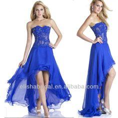 Royal Blue Crystal Beaded Bodice Flowing Chiffon Short Front Long Back Prom Dress US $181.00