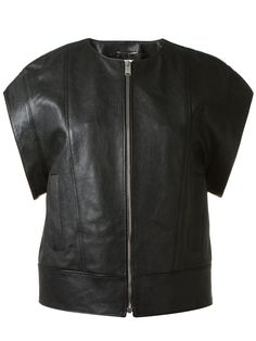 Saint Laurent Short Sleeve Leather Jacket in Black