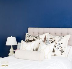 Bedroom // navy walls, Arianna Belle pillows
