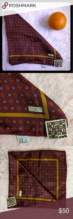 NWT Vintage Echo Handkerchief Scarf Orange 🍊 you glad you found this amazing vintage scarf on Poshmark? Echo is a brand carried by high end stores such as Nordstrom and Lord & Taylor. This rare and hard to find beauty is a silk and chinon blend and still has the tags attached. Elegantly subtle. In excellent condition. Made in Japan 🇯🇵 Echo Accessories Scarves & Wraps