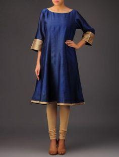 Navy Blue Tissue Detail Panelled Chanderi Kurta Kurti, Ethnic, Cold Shoulder Dress, Navy Blue, Dresses With Sleeves, Detail, Tees, Long Sleeve, Stuff To Buy