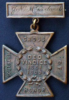 Southern cross medal of honor.   American Civil War