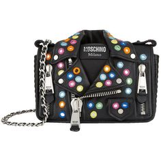 Moschino Embellished Leather Jacket Shoulder Bag ($1,630) ❤ liked on Polyvore featuring bags, handbags, shoulder bags, moschino shoulder bag, real leather handbags, moschino purse, genuine leather handbags and moschino handbags