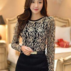 Stylish Round Neck Long Sleeve Spliced See-Through T-Shirt For Women Cheap Blouses, Cheap Shirts, Cheap Tank Tops, Sequin Tank Tops, Sammy Dress, T Shirts For Women, Clothes For Women, Korean Women, Korean Fashion