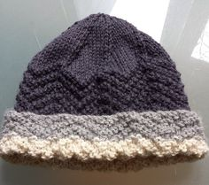 Chevron hat, made from Paton's Jet 12 ply, super soft and cosy
