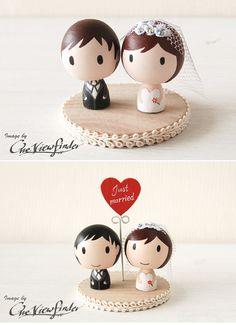 cake topper1 Cute Little Bigheads! Wedding inspiration wedding idea cake topper  inspiration found and beautiful