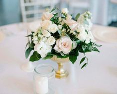 Set of 10 Gold Compote Pedestal Vase Centerpieces Simple Wedding Centerpieces, White Centerpiece, Wedding Vases, Christmas Centerpieces, Floral Centerpieces, Wedding Table, Floral Wedding, Flower Arrangements, Wedding Flowers