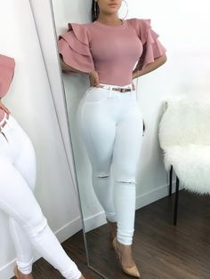 Shop Roundneck Ruffle Sleeve Blouses Casual Tops right now, get great deals at divaslily Classy Outfits, Sexy Outfits, Stylish Outfits, Beautiful Outfits, Summer Outfits, Girl Outfits, Mode Style, Casual Tops, African Fashion